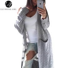 Lily Rosie Girl White Casual Long Cardigans Women V Neck Knitted Autumn Winter Sweaters Double Pocket Gray Open Stitch Sweater(China)