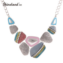 2017 Fashion Ethnic Vintage Antique Silver Plated Colorful Enameling Geometric Pendants Choker Statement Necklaces Bijoux(China)