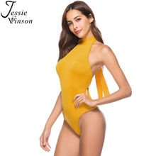 Buy Jessie Vinson Backless Sexy Bodysuit Halter Neck Lace Skinny Rompers Summer Sleeveless Shoulder Women Jumpsuit Overalls