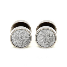 2pcs New Unisex Stainless Steel Sandblast Sandpaper Texture Top Stud Earrings Ear Stud Anodized Body Piercing Jewelry Free Shipp(China)