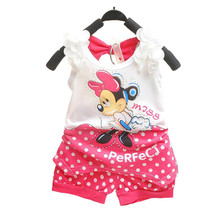 BibiCola 2018 children baby girls summer outfit set toddler kids clothing set tracksuit clothes set minnie mouse Tshirt+shorts(China)