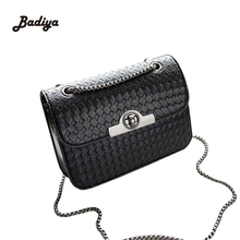Trendy Designer Knitting Chains Strap Ladies Small Flap Messenger Bag Phone Weave Hasp Women Bags With Lock Fashion Shoulder Bag