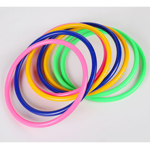 10 Pcs Plastic Colorful Hoopla Ring Toss Cast Circle Sets Educational Toy Fashion Puzzle Game for Kids(China)