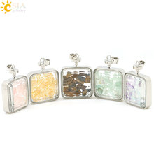 CSJA Real Natural Tigers Eye Pink Yellow Quartz Stone Crystal Wishing Bottle with Cute Fairy Clear Glass Wish Box Pendant E043(China)