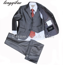 (Jackets+Vest+Pants+Tie+Cravat) Boy Suits Flower girl Slim Fit Tuxedo Brand Fashion Bridegroon Dress Wedding Grey Suit Blazer2(China)