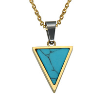 HIP Triangle Pendants Mens Trendy Geometric Stainless Steel Turquoises Necklaces For Men Jewelry(China)