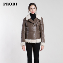 PRODI 2016 winter women's genuine leather down jacket with lambfur and high quality genuine lambskin down clothing PR1613(China)