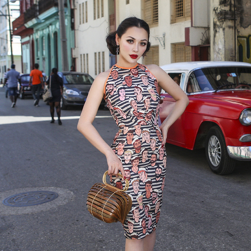 le palais vintage 2018 Summer Vintage Dress Very Sexy Backless Slim High Rise Bodycon Dress Stylish Printed Summer Dress