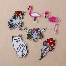 Flamingo Unicorn Embroidery Patches Hand Sewing Applique For Stripes Clothing Accessory Jacket Shoe Hat Bag Clothing TB023