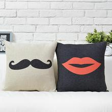 Bearded lips British trade Couples wedding gift cotton pillow cushion Square Home Decor sofa cushions(China)