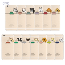 DTFQ Ultra Slim Thin Soft TPU Case Cover Cartoon Lovely Cute Dog Pug Pet Design Phone Case for iPhone 6 6s Plus SE/5/5s 7 8 Plus(China)
