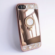 For iPhone 7 Case 4.7'' Mirror Panel Bling Diamond Finger Ring Glitter Cover Drop Proof Lady Make Up Girl Friend Gift Hot Sale