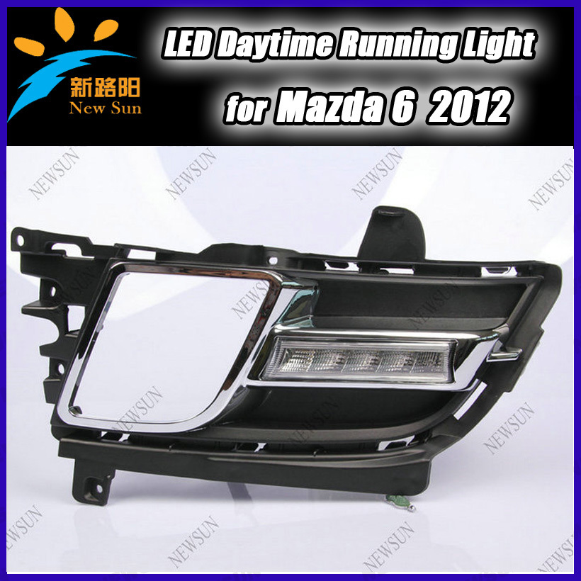 super bright Led car daytime running light for M azda 6 2012 Car LED DRL Daylight with fog lamp cover<br><br>Aliexpress