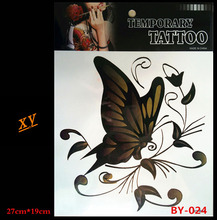 New waterproof back tattoos black butterfly design temporary tattoos Flash false body art tattoo roses BY-024