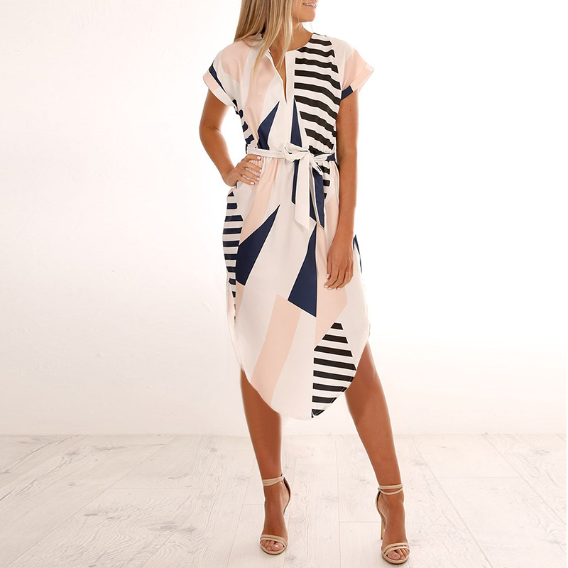 2018 Summer Dress Women Print V Neck Short Sleeve Robe Female Dresses Casual Sashes Midi Dress Ladies Elegant Vestidos Dropship 5