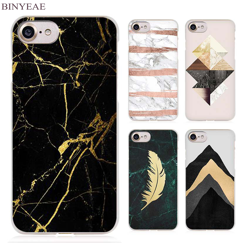 BINYEAE marble tri black gold hellip Clear Cell Phone Case Cover for Apple iPhone 4 4s 5 5s SE 5c 6 6s 7 7s Plus(China)