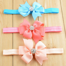 10pcs/pack 8cm Grosgrain Pinwheel Bow Headband Princess Girls Headwear Crystal Center Head Band Red Blue White Peach Coral etc.(China)
