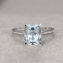 3CT Aquamarine Ring For Women Engagement Ring White Topaz side stone Wedding Set 14K White Gold Gemstone Promise Ring Bridal set