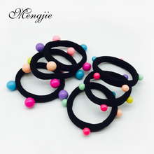 twist nylon women hair bands with colorful small balls rubber bands ponytail hair tie acessorio para cabelo for girls 7012(China)
