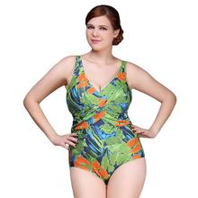 Buy Sexy One Piece Swimsuit 2016 Vintage Plus Size Swimwear Women Brazilian Ruffle Print Ploral Beach Bodysuit Halter Bathing Suit