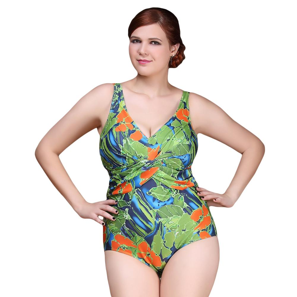 Sexy One Piece Swimsuit 2016 Vintage Plus Size Swimwear Women Brazilian Ruffle Print Ploral Beach Bodysuit Halter Bathing Suit<br>