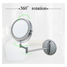 7 inch makeup mirror double sided LED light mirror swivel wall mounted extending folding mirror with 10x magnification