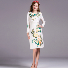 Brief Women Dress 2016 Summer New Arrival Flowers Print New Slim Noble Long Sleeve Knee Length Topshop 2XL Size Fashion Dress