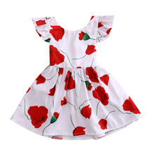 Girl Pageant Floral Red Rose MIni Cute Sleeveless Tutu Dresses Flower Girls Clothes Princess Dress Kid Baby Party