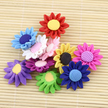 Polymer Clay flower beads for decoration 50pcs 30MM Sunflower shape flower beads jewelry findings accessories diy wholesale(China)