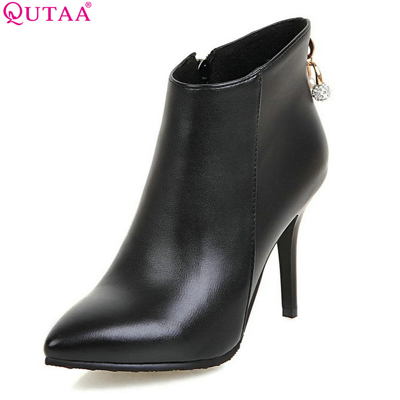 QUTAA Sexy Women Shoes PU leather Thin High Heel Ankle Boots Round Toe Zipper Women Motorcycle Boots Size 34-43<br>