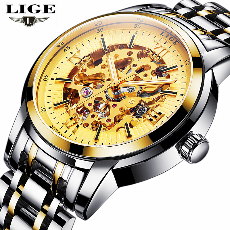 Men Watches 2017 LIGE Men Watches Brand Luxury Famous Military Watch Men Clock Skeleton Automatic Wristwatch Relogio Masculino(China)