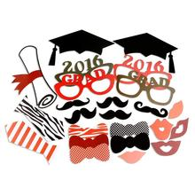24PCS Graduation Party Photo Booth Props Bachelor Hat Cap Certificate Photobooth Graduate Party Decoration Supplies(China)