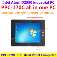 All In One Computer 17inch Intel atom D2550 industrial panel pc with resistance touch screen 16G SSD 2G RAM affordable pc(China)