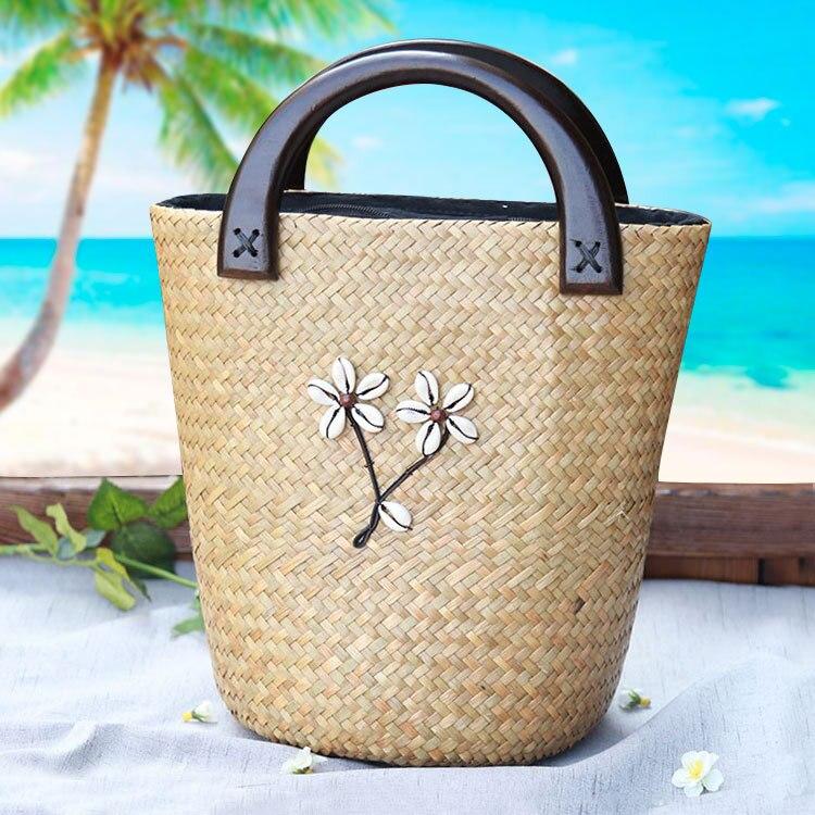 22x29CM New Female Handbag Thai  Female  Tourism Resort Handbag Bag Handmade Straw Bag  A4188<br>