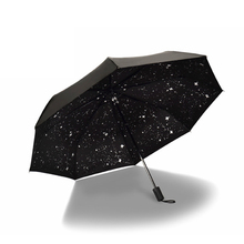 Starry Sky Black Coating Windproof Anti UV Sun/Rain Triple Folding Umbrella