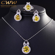 9 Color Options Sparkling Yellow Cubic Zirconia Earring And Necklace Fashion Women Sterling Silver 925 Jewelry Sets T199(China)