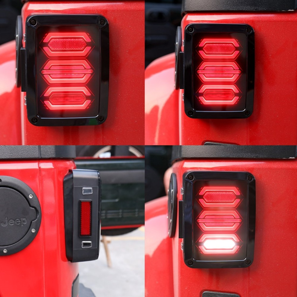 DOT Smoked LED Tail Lights For Jeep Wrangler Taillights For Jeep Wrangler JK JKU Sports Sahara Running Turn Signal Reserve Lamp (2)