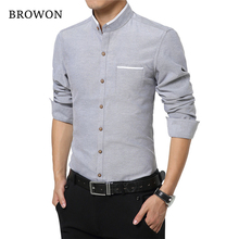 Buy Browon Mens Dress Shirts M-5XL Fashion Casual Men Shirt Long Sleeve Mandarin Collar Slim Fit Shirt Men Korean Business for $13.88 in AliExpress store