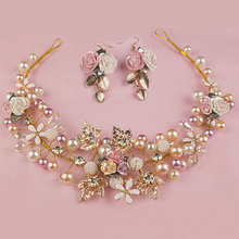 Gold Color Handmade Flower Headpieces Wedding Bridal Pearl And Crystal Headbands For Bride Hair Accessories Jewelry(China)