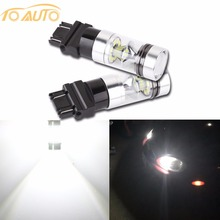 2PCS 3156 3157 P27/7W 1200LM LED Bulb Car Fog Light Tail Driving Lamp DRL Daytime Running Reverse 100W 6000K White 3030 20SMD