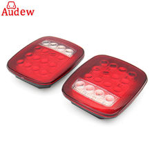 2Pcs 16 LED Red/White Truck Trailer Boat Stop Turn Tail back up reverse Light Lamp Waterproof