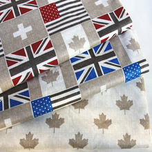 100x160cm Graceful Canada Maple UK USA flag Design Printed 100% Cotton Fabric For DIY Sewing Bedding Quilting Cloth Decoration(China)