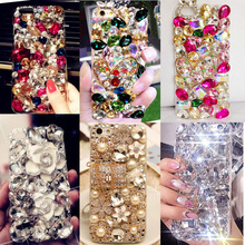 Rhinestones Top Quality Phone Cases For iphone 7 Big Stones Beads 3D Bling Crystal Hard and Soft Back Cover for Samsung Galaxy