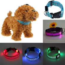 Polyester Pet Dog Collar LED Light Night Safety Light-up Flash Glowing in Dark Cat Collar LED Dog Collars Small Dogs Dog Accesso