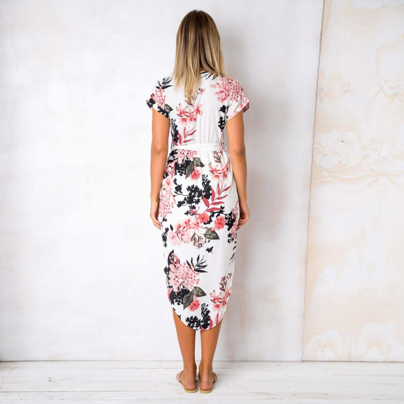 2018 Summer Dress Women Print V Neck Short Sleeve Robe Female Dresses Casual Sashes Midi Dress Ladies Elegant Vestidos Dropship 15