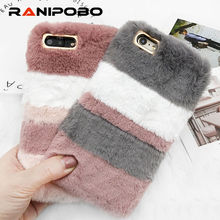Luxury Warm Rabbit Fur Plush Phone Case For iPhone X 6 6S Plus 7 7Plus 8 8Plus Lovely splice Cute Furry Soft TPU hair Back Cover(China)