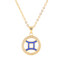 12 Zodiac Constellation Jewelry Micro Pave CZ Round Circle Enamel Gemini Signs Pendant Chain Necklaces Women 2017 Hot Designer