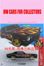 New Hot 1:64 Cars wheels Custom Black 70th Camaro Models Metal Diecast Car Collection Kids Toys Vehicle Juguetes