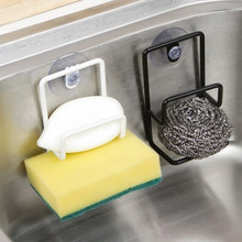 Kitchen Clean Sink Bathroom Storage Rack With Sucker Double-deck Stainless Steel Sponge Draining Holder Hot Sale