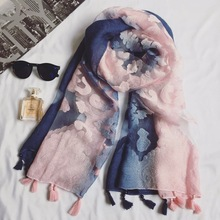 Hot sale pretty shadow lace tassels shawls Muslim hijab woman scarf/scarves pashmina bandana silk scarf Free Shipping 10pcs/lot